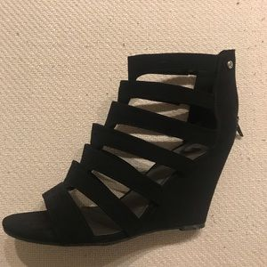 G by Guess strappy suede wedge heel.